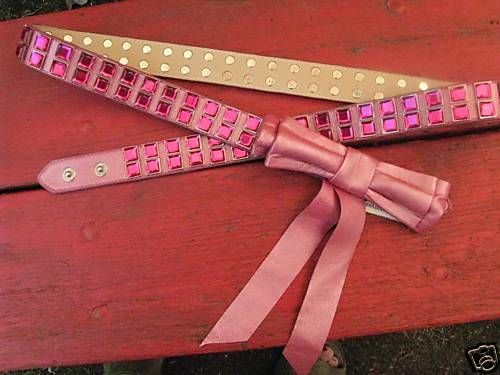 NWT Bebe pearl hot pink bling rhinestone studded bow leather belt M-L