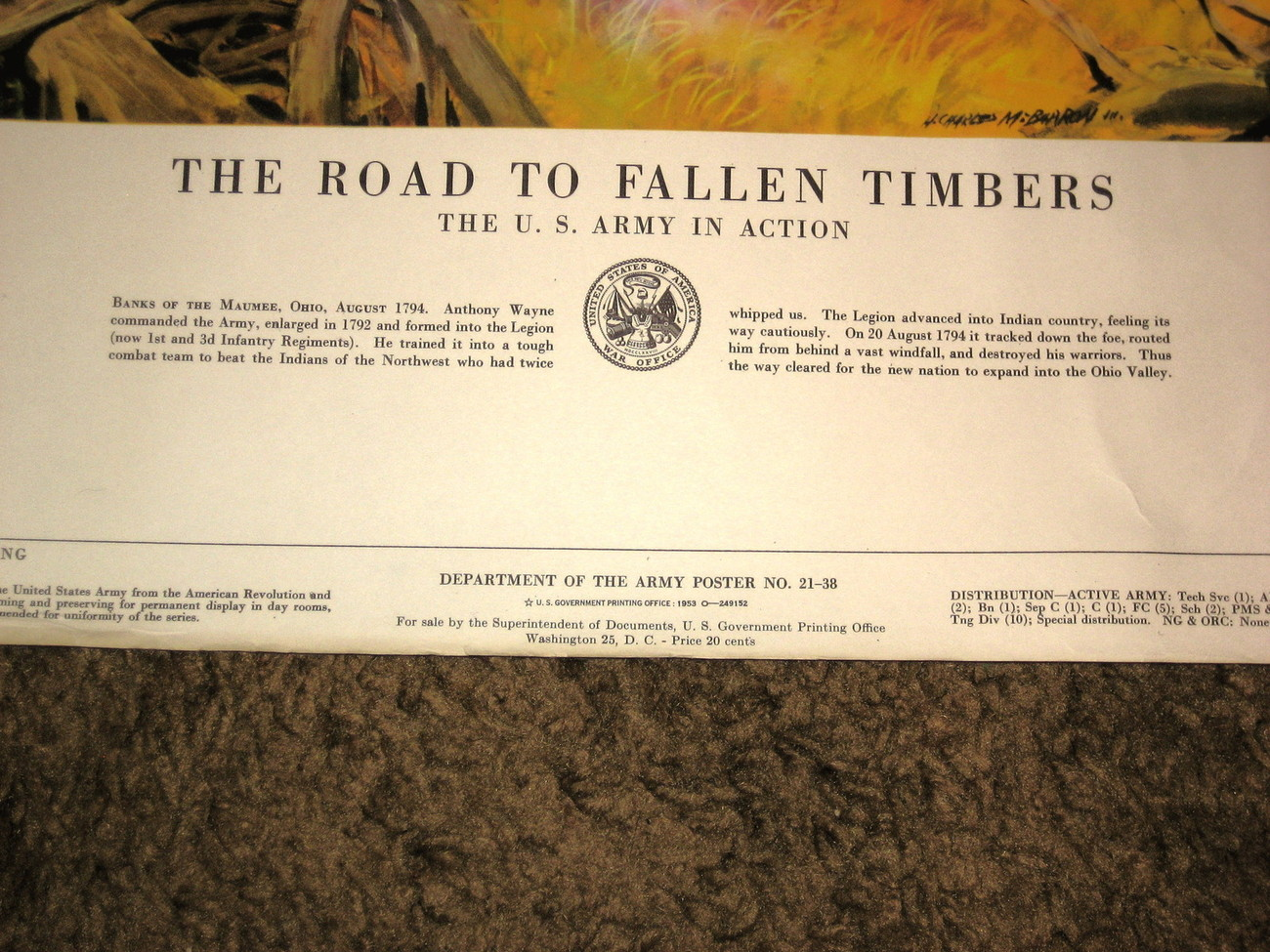 1953 U.S.Army Poster 21-38--Road To Fallen Timbers