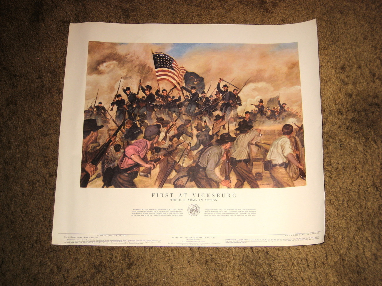 1953 U.S.Army Poster 21-41-- First At Vicksburg