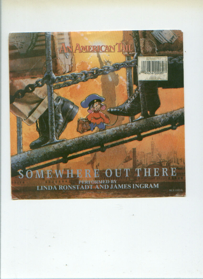 SOMEWHERE OUT THERE 45 record from AN AMERICAN TAIL animated movie FIEVEL