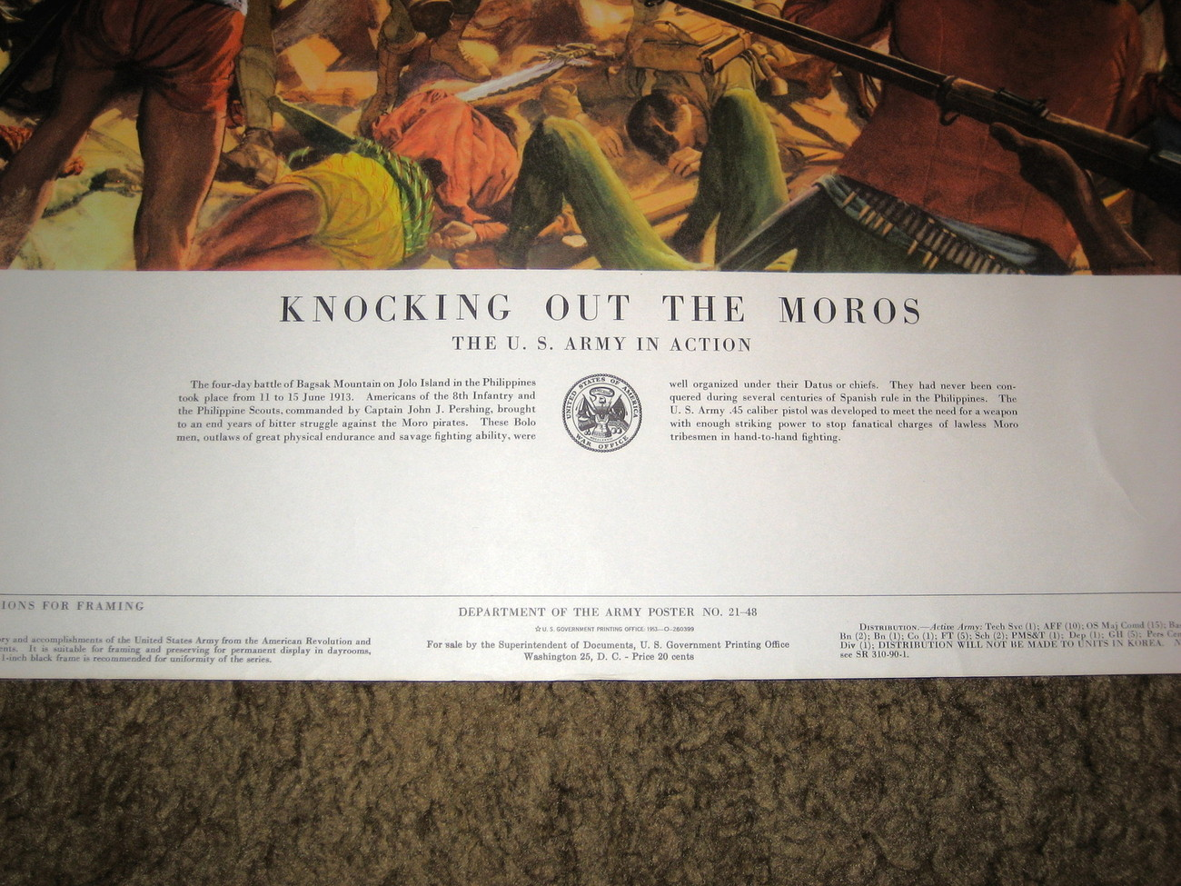 1953 U.S.Army Poster21-48-- Knocking Out The Moros