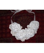 Rolled Fabric Rose & Lace Statement Bib Necklace-Cream with Ivory Fl... - $20.00