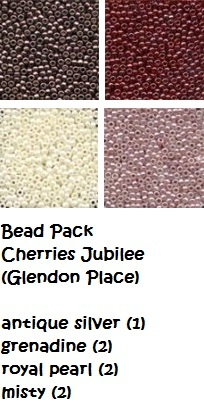 BEAD PACK Cherries Jubilee cross stitch Glendon Place Dinky Dyes