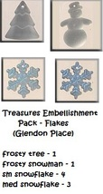 TREASURES EMB PACK Flakes cross stitch Glendon Place Dinky Dyes  - $38.25
