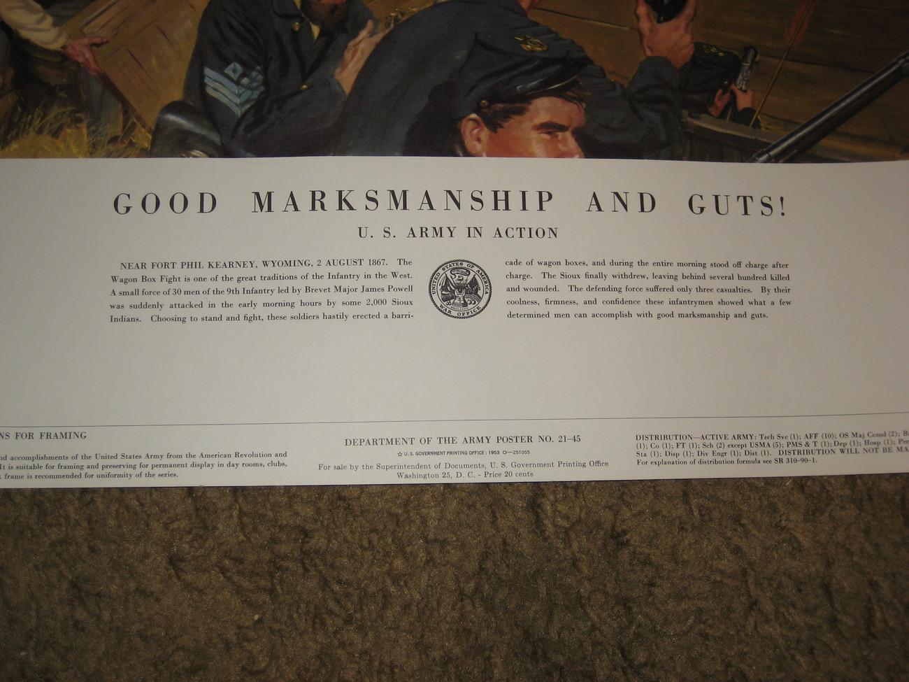 1953 U.S.Army Poster 21-45--Good Marksmanship And Guts
