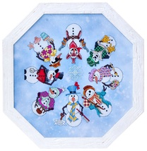 Snowmen Ala Round winter cross stitch chart Gle... - $14.40