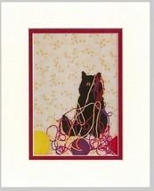 "Art print black cat/yarn ""Who, Me?"" by Loretta Alvarado"