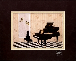 Art print black cat/grand piano by Loretta Alvarado