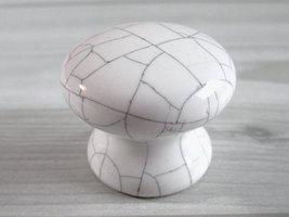 Knobs Drawer Knob Dresser Knobs Kitchen Cabinet Door Knob White Crackle Ceramic - $4.50