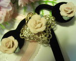 PORCELAIN ROSES Brooch and Post Earrings with Goldtone Filigree - Vintage Set