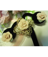 PORCELAIN ROSES Brooch and Post Earrings with Goldtone Filigree - Vintag... - $35.00