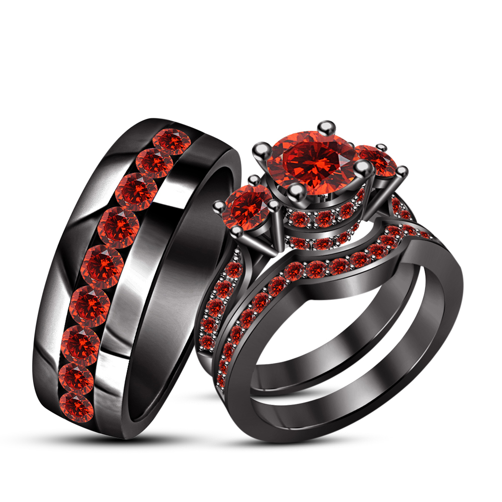 Primary image for Men's Women's Trio Ring Set In Black Gold Finish 925 Silver Round Cut Red Garnet