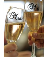 "MR & MRS Wedding Glass Design Vinyl Sticker Decal Set 1.5""h x 2.5""w each - $7.99"