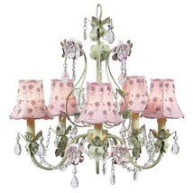 Flower Garden 5 Light Chandelier with Plain Shade Finish: Pink and Green... - $420.00