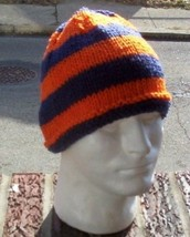 Hand Knit Mens Striped Chicago Bears Beanie Ora... - $24.75