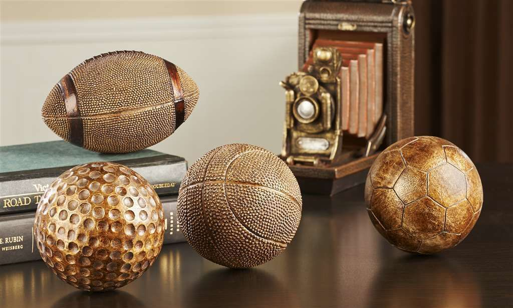 Sports Ball Figurines - Set of 4 - Football, Golf, Basketball, Soccer Trophy