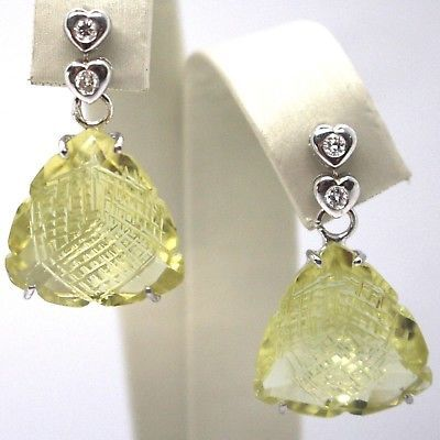 BOUCLES D'OREILLES PENDANTES EN OR BLANC 18K,DIAMANTS,QUARTZ LEMON,CŒURS,
