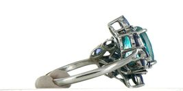 Ladies Size 7.25 Sterling Silver Blue Green Tourmaline Ring No. 2155 image 5