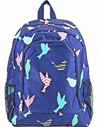 "Whimsical Bird Print 16"" School Travel Backpack Navy Blue"