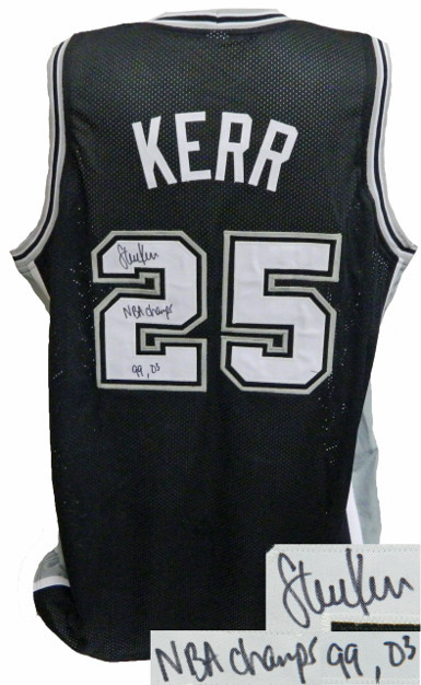 Steve Kerr signed Black Custom Stitched Basketball Jersey NBA Champs 99, 03 XL