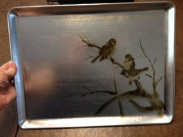 Serving Tray - Silver with gold bird design - $4.00