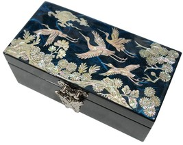 Lacquer inlaid mother of pearl wood  trinket jewelry jewel box finetree ... - $51.48