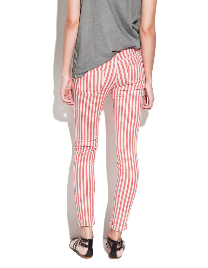 NWOT ZARA Striped Studded Skinny Jeans color Red size XS