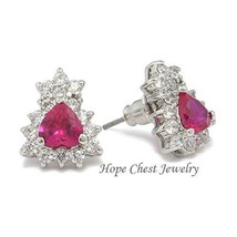 Silver Tone Ruby Red Cubic Zirconia Stud Earrings - $20.88