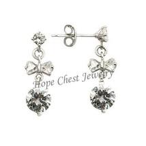 STERLING SILVER EARRINGS - Little Bowtie CZ Dangle Earrings - $25.49