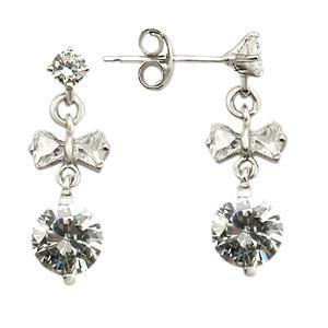 STERLING SILVER EARRINGS - Little Bowtie CZ Dangle Earrings