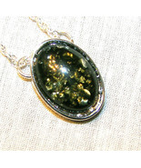 NWOT  HANDCRAFTED   GREEN   BALTIC  AMBER  OVAL PENDANT  SILVER Plated  ... - $19.99