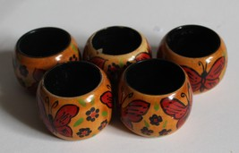 Pier 1 Imports  Wooden Butterfly Napkin Rings Holders Kitchen Decor - $6.00