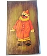 "Hand Painted Clown Wood Wall Plaque Red Suit 12"" x 7"" Vintage - $14.80"