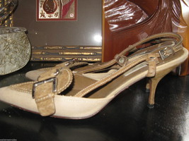 Prada Canapa St. Pecar sling back stiletto pumps heels shoes 8 38 UK5.5 - $176.37