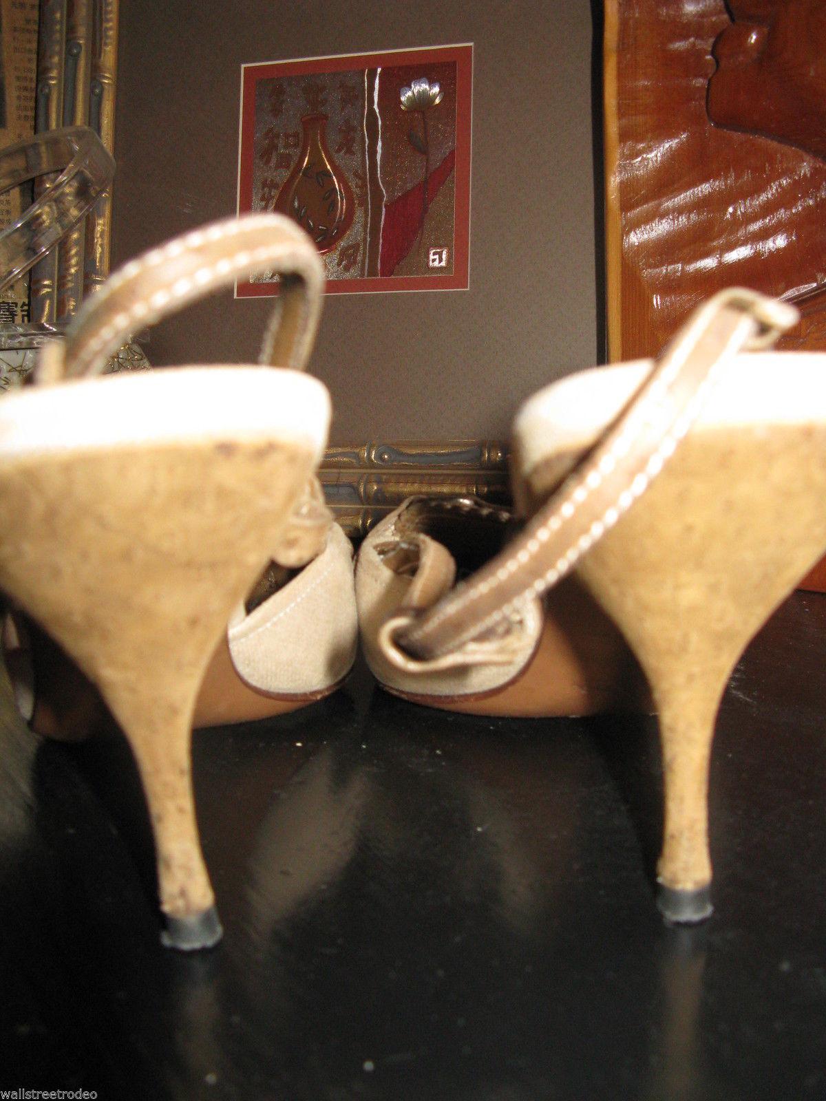 Prada Canapa St. Pecar sling back stiletto pumps heels shoes 8 38 UK5.5