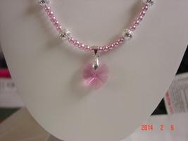 Pink Swarovski Crystal Heart Necklace with Druk Glass Czech Beads  - $19.99