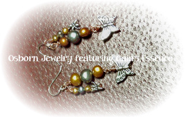 Freshwater Pearl Butterfly and Dragonfly Earrings June Birthstone Made I... - $29.99