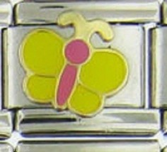 Butterfly Yellow And Pink  Wholesale Italian Charm 9 Mm K20 - $7.16