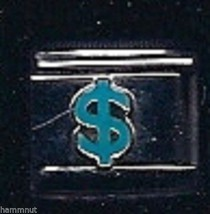 Dollar Sign In Blue  #11  Wholesale Italian Charm 9 Mm - $7.16