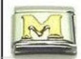 Gold Letter M Wholesale Italian Charm 9 Mm - $7.16