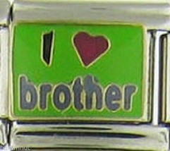 I Red Heart Brother Green Background Wholesale Italian Charm 9 Mm K21 - $7.16