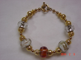 14K Gold and Lampwork Beaded Bracelet - Free Shipping - $29.99