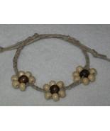 Natural Hemp Beaded Bracelet 8mm Wood Beads - $2.00