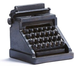 Black Typewriter Bookends Set of 2 -Antique Look  Polystone NEW - £42.08 GBP