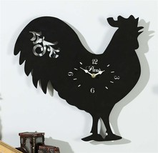 "15"" Black Iron Rooster Design Wall Clock NEW"
