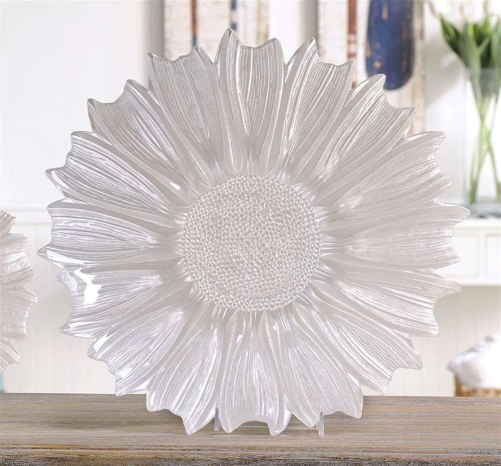 """15.7"""" Floral Design White Decorative Plate Glass"""