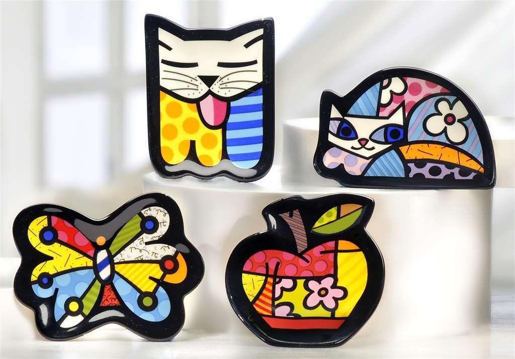 Romero Britto Ceramic Tea Bag Holder - Set of 4 - NEW