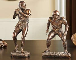 Football Figurines Set of 2 - Antique Gold Color Trophy Home Decor