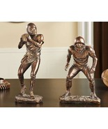 Football Figurines Set of 2 - Antique Gold Color Trophy Home Decor - $49.49