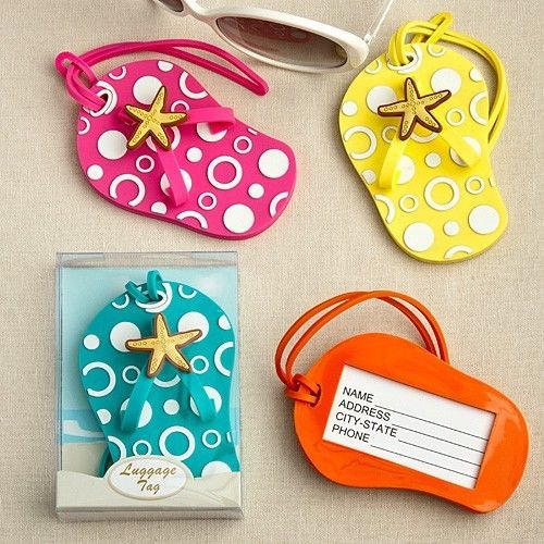Flip Flop Luggage Tag Favor Wedding Bridal Shower Gift CHOOSE from FOUR colors